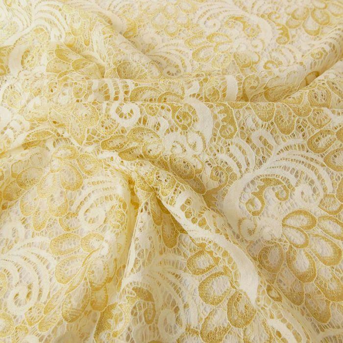 Tissu dentelle or - écru x 10 cm