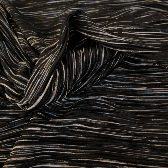 Tissu plissé - noir x 10 cm