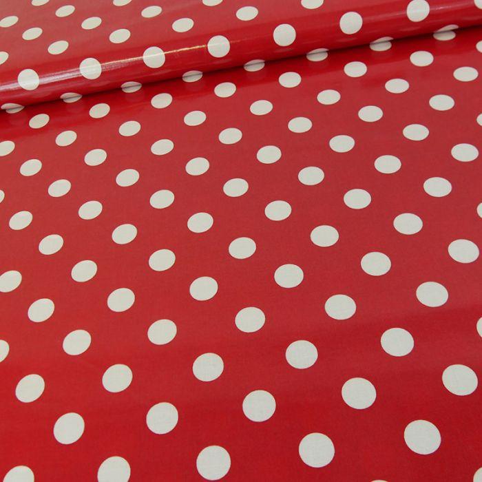 Tissu imperméable bio rouge pois blanc x 10 cm