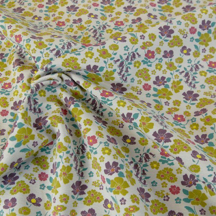 Jersey coton bio fleurs vintage - C. Pauli x 10 cm