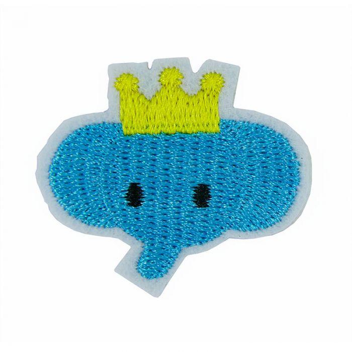 Ecusson thermocollant petit éléphant bleu