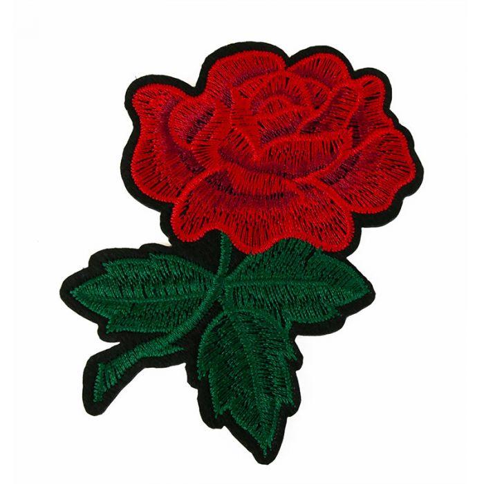 Ecusson thermocollant grande rose rouge
