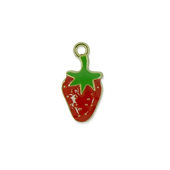 Breloque émaillée fraise x1