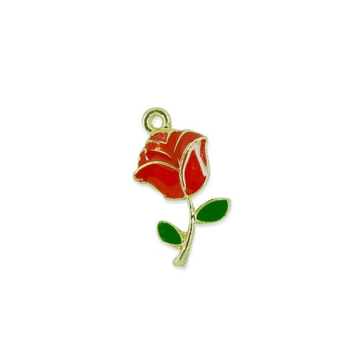 Breloque émaillée rose rouge x1