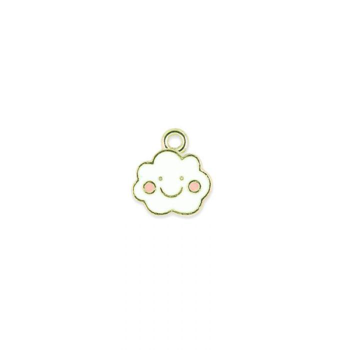 Breloque émaillée petit nuage kawaii x1