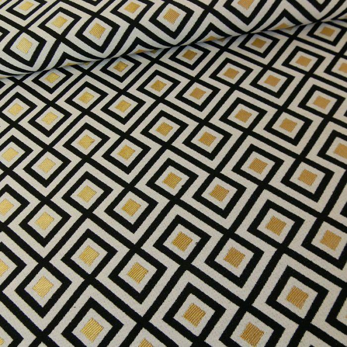 Tissu jacquard géométrique or - noir x 10 cm