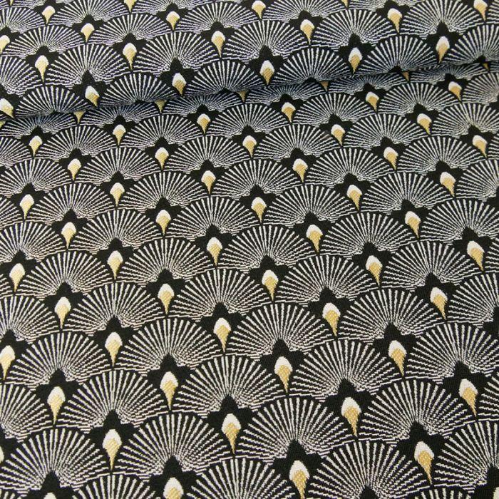 Tissu jacquard éventails or - noir x 10 cm