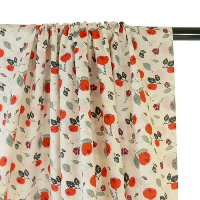 Voile de coton bio roses - C. Pauli x 10 cm