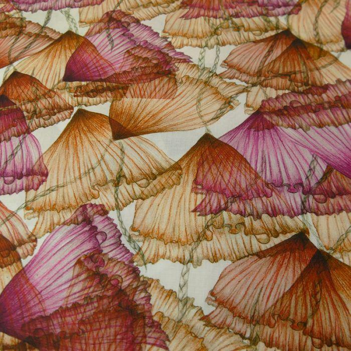 Voile de coton bio fleurs Suzu - C. Pauli x 10 cm