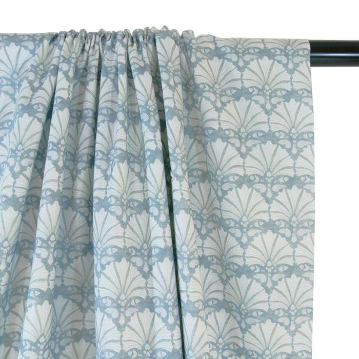 Popeline bio coquillages bleu - C. Pauli x 10 cm