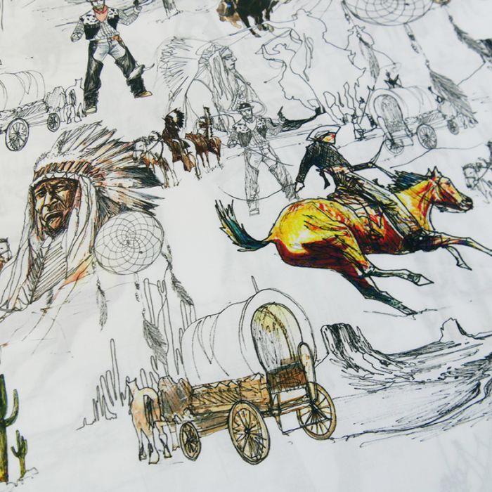 Popeline bio Wild West - C. Pauli x 10 cm