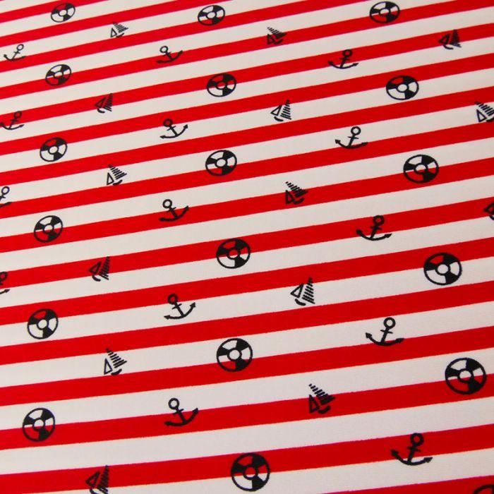 Tissu maillot de bain rayures - rouge x 10 cm