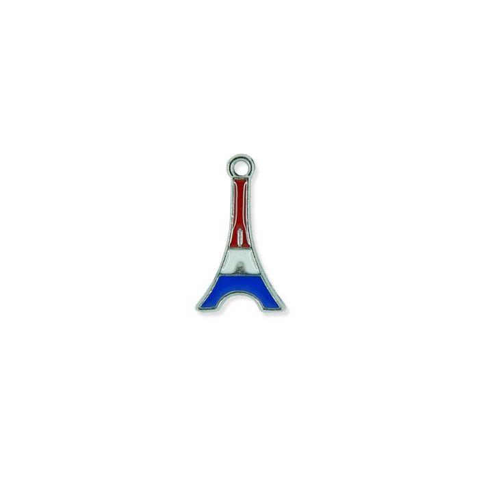 Breloque émaillée tour Eiffel tricolore / argenté x1