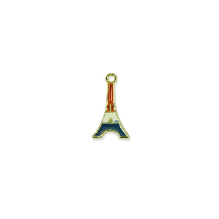 Breloque émaillée tour Eiffel tricolore / doré x1
