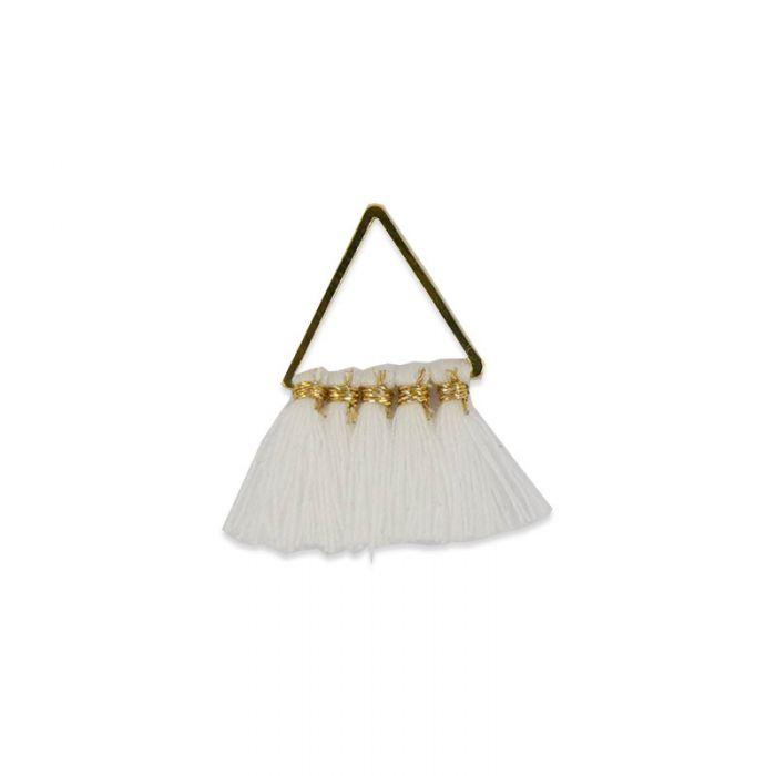 Pendentif triangle doré à pompons 25mm x1