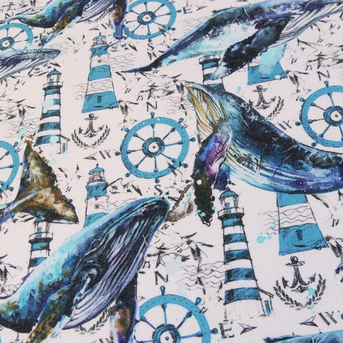 Tissu sweat baleines - bleu x 10 cm