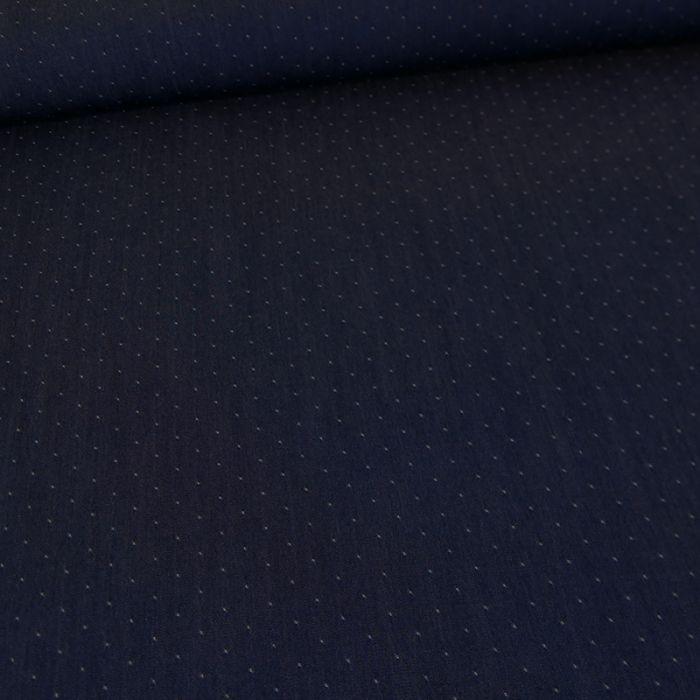 Tissu chambray tencel pois - bleu foncé x 10 cm