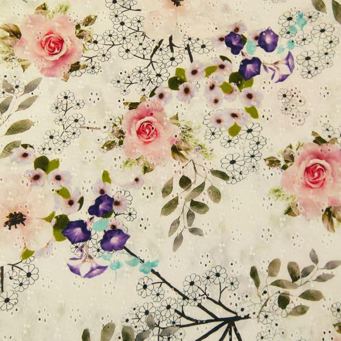 Tissu coton broderie anglaise imprimée x 10 cm