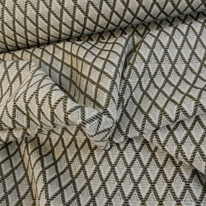 Jersey jacquard losanges lurex gold - écru x 10 cm