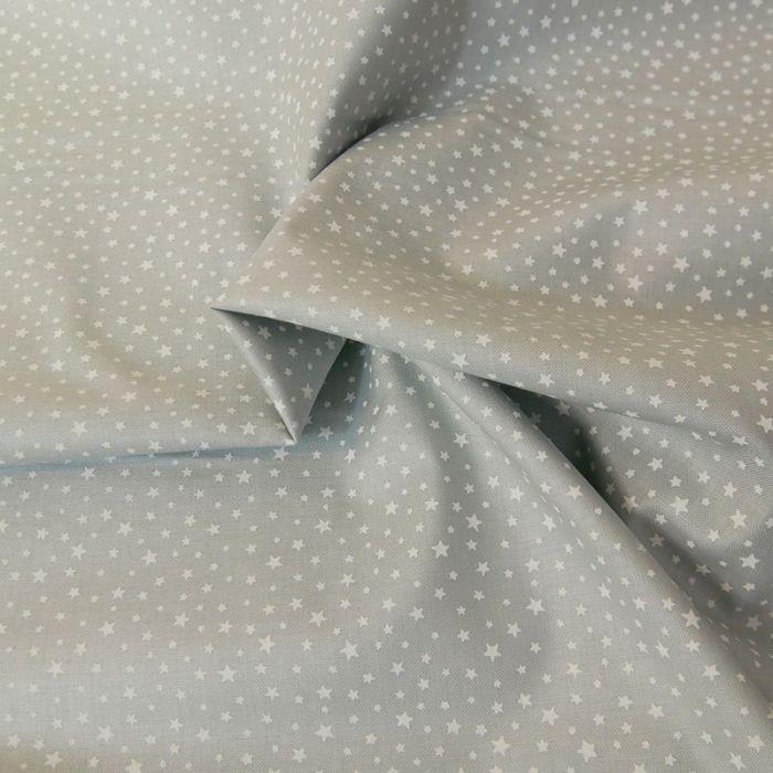 Tissu coton étoiles - gris x 10 cm