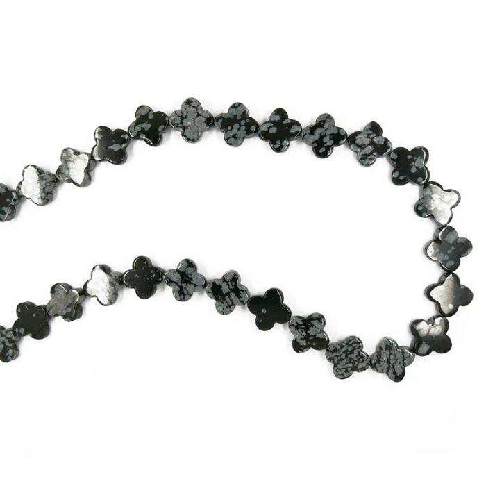 Perle trèfle en obsidienne flocon de neige 14mm x1