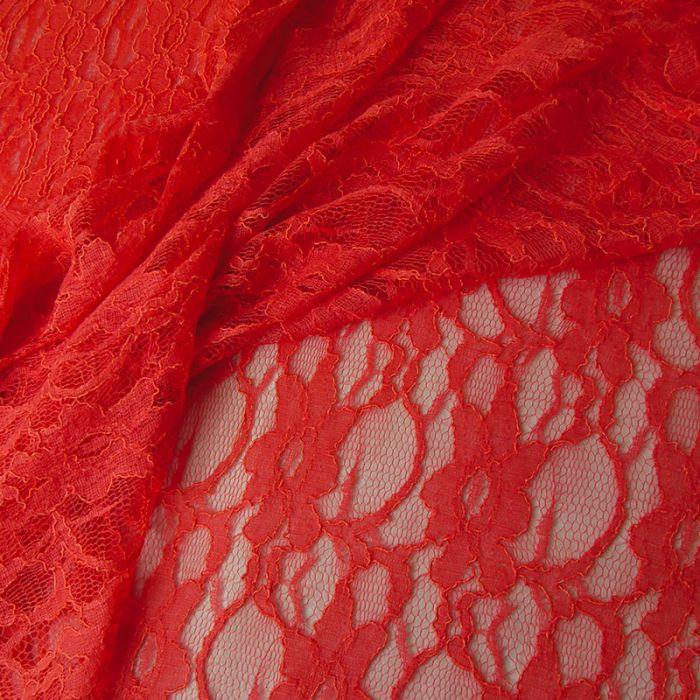 Tissu dentelle fleurs - corail x 10 cm