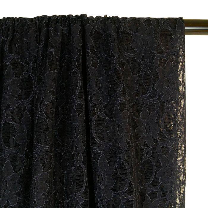 Tissu dentelle fleurs - bleu marine x 10 cm