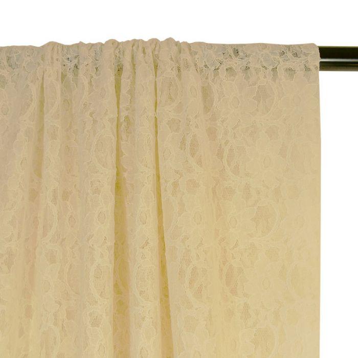 Tissu dentelle fleurs - écru x 10 cm
