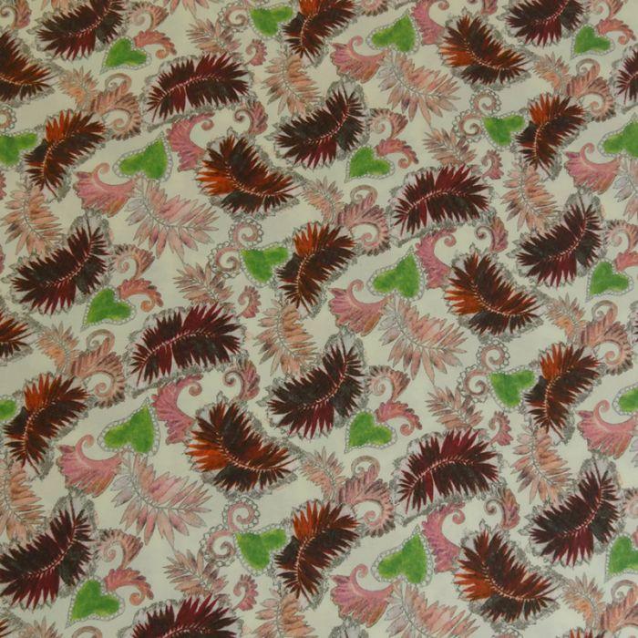 Tissu viscose élasthanne feuilles - écru x 10 cm