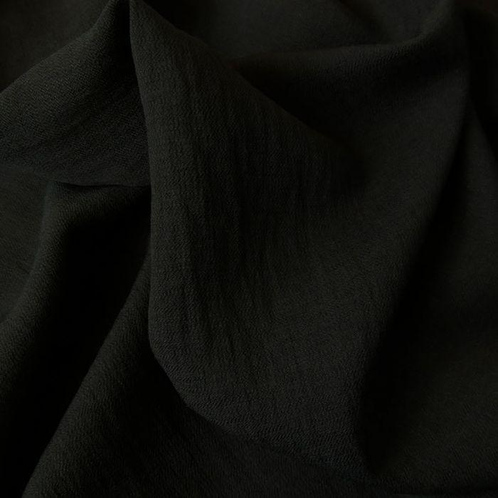 Tissu crêpe viscose gaufré - noir x 10 cm