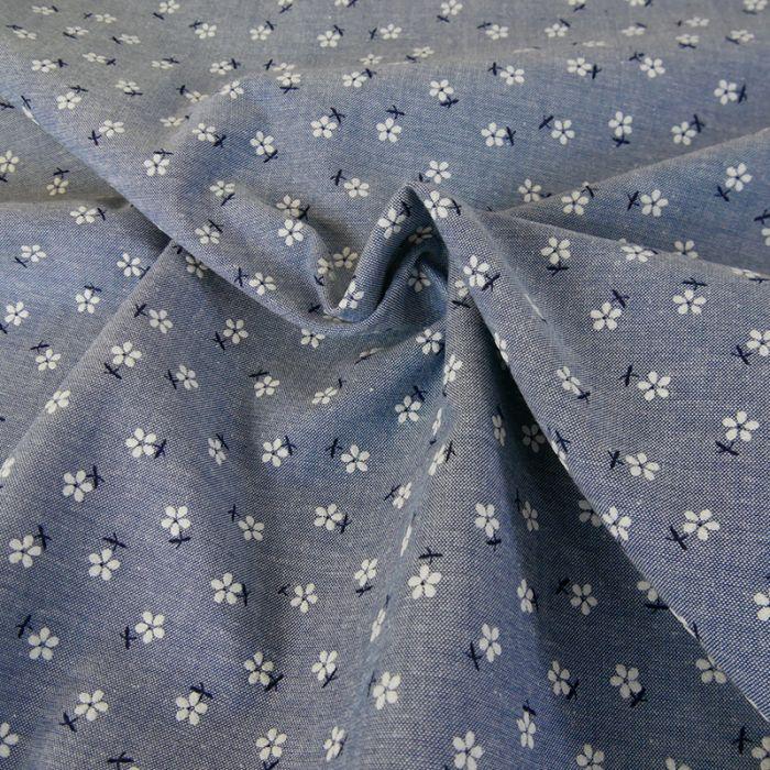 Tissu chambray fleurs - bleu x 10 cm