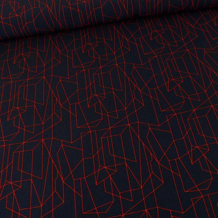 Tissu polyester géométrique - marine x 10 cm