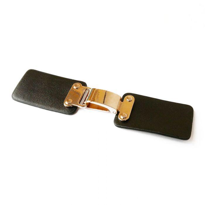 Brandebourg rectangulaire simili-cuir et métal 13 cm