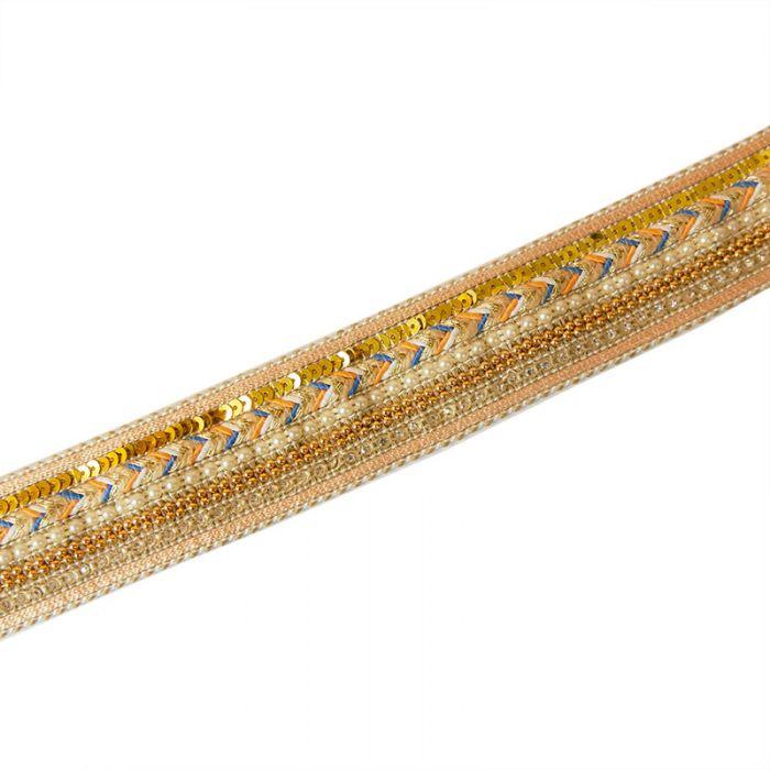 Galon perlé et strassé 40 mm blanc ou noir x 10 cm