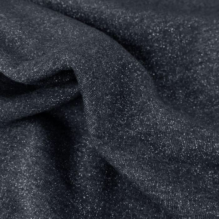 Tissu molleton sweat lurex argent - bleu x 10 cm