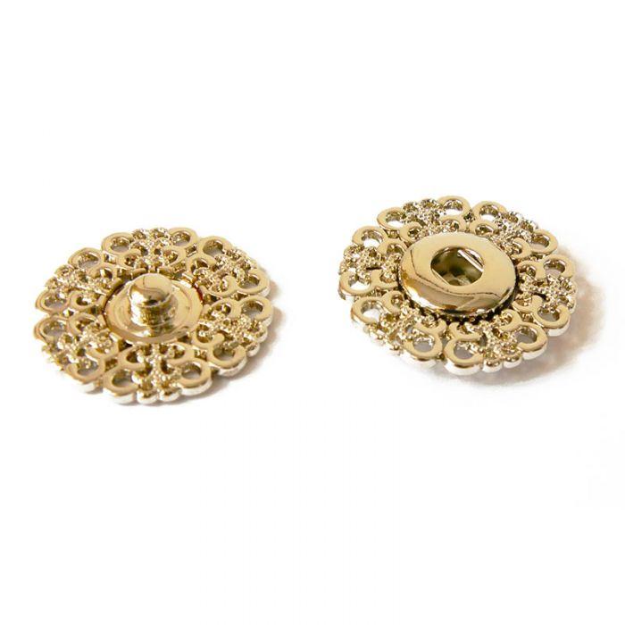Bouton pression décoratif  à coudre métal argent x1