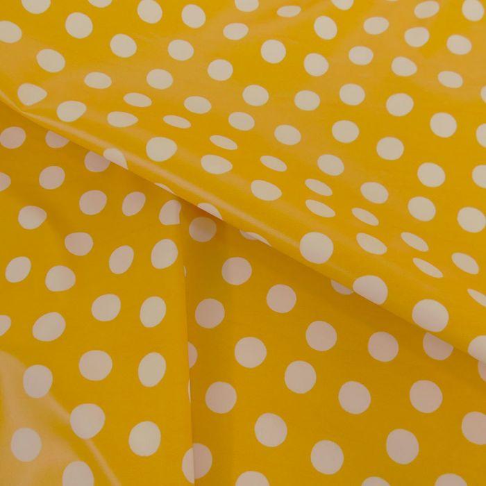 Tissu imperméable souple pois - jaune x 10 cm
