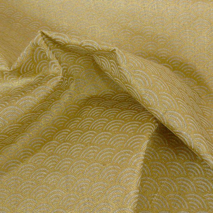Tissu lin seigaiha - doré x 10cm