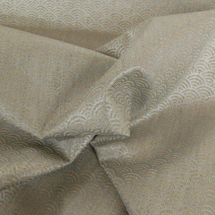 Tissu lin seigaiha - argent x 10cm