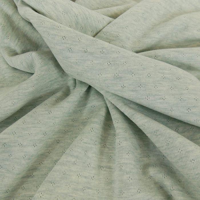 Tissu jersey ajouré oeko-tex Stenzo - vert x 10 cm