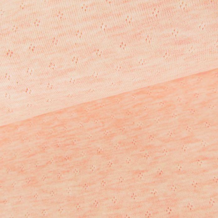 Tissu jersey ajouré oeko-tex Stenzo - rose x 10 cm