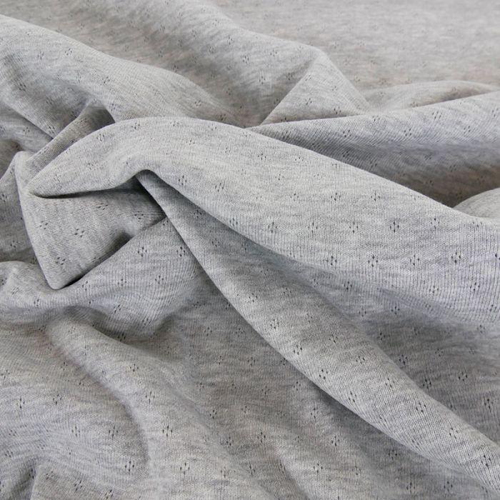 Tissu jersey ajouré oeko-tex Stenzo - gris x 10 cm