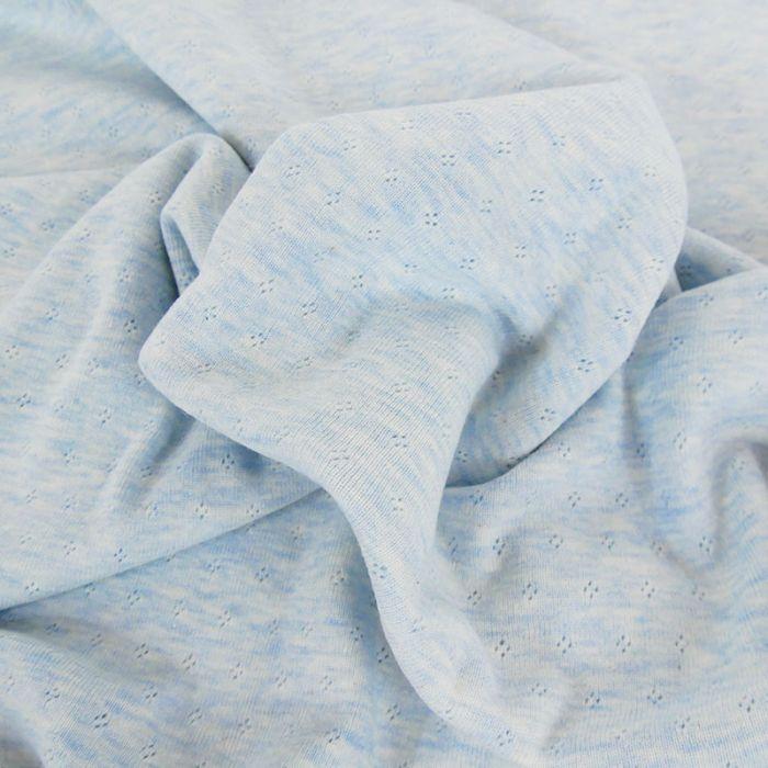 Tissu jersey ajouré oeko-tex Stenzo - bleu x 10 cm