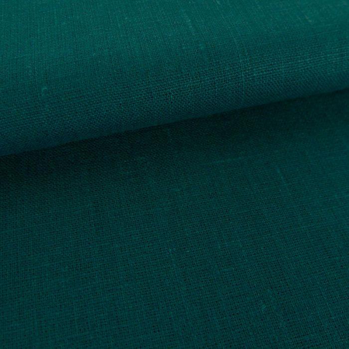Tissu lin uni - pétrole x 10cm