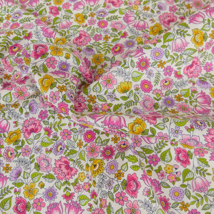 Tissu coton chintz fleurs - rose x 10 cm
