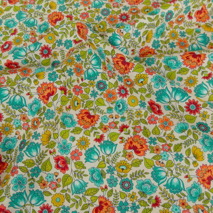 Tissu coton chintz fleurs - turquoise x 10 cm