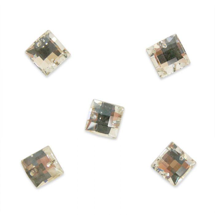Strass à coudre carré en cristal facetté x5