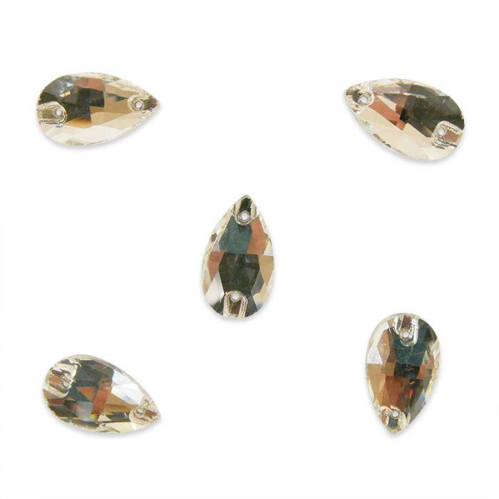 Strass à coudre goutte en cristal facetté x5