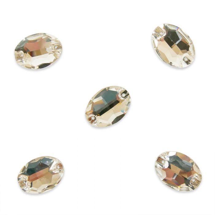 Strass à coudre ovale en cristal facetté x5