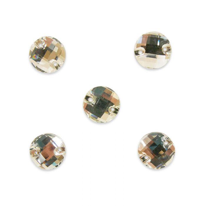 Strass à coudre rond en cristal facetté x5